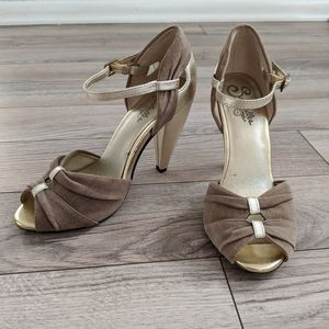 Seychelles Suede and Gold High Heels